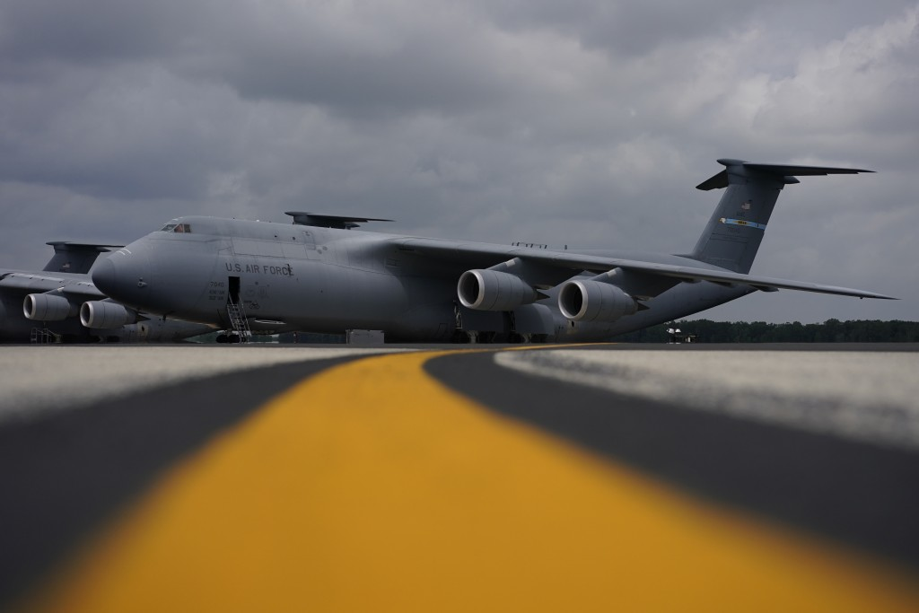 A C-5M Super Galaxy transport plane sits on the flightline at Dover Air Force Base, Del., Monday, June 21, 2021. The aircraft is one of those used in ...