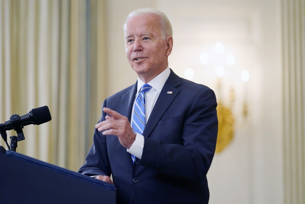President Joe Biden speaks about the economy and his infrastructure agenda in the State Dining Room of the White House, in Washington, Monday, July 19...