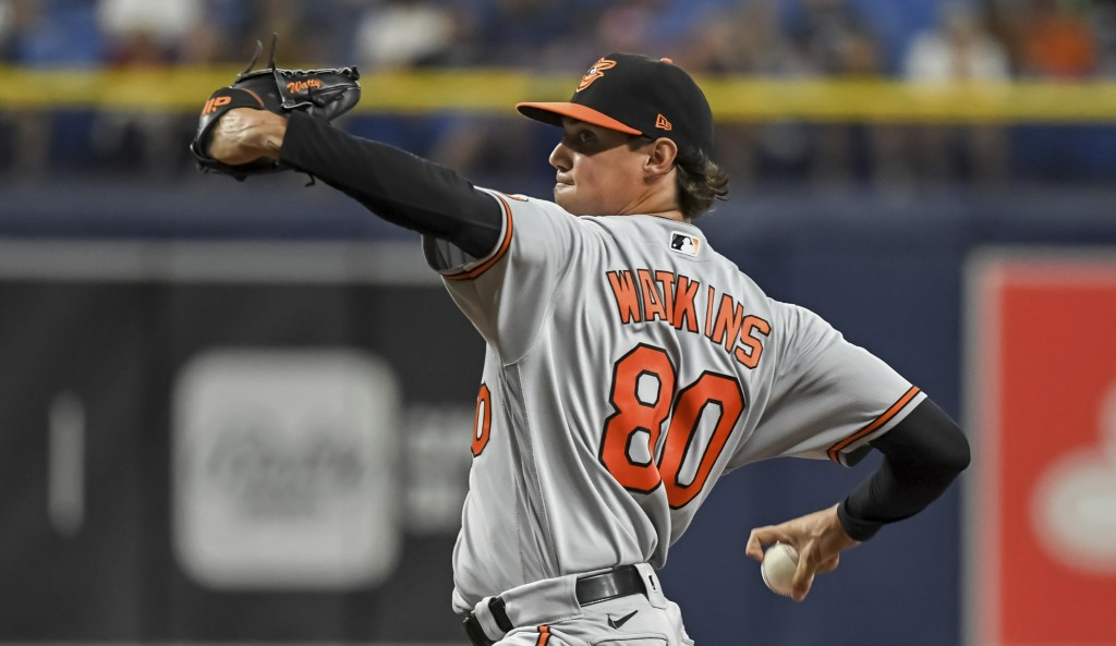 Baltimore Orioles starter Spenser Watkins pitches against the Tampa Bay Rays during the first inning of a baseball game Monday, July 19, 2021, in St. ...