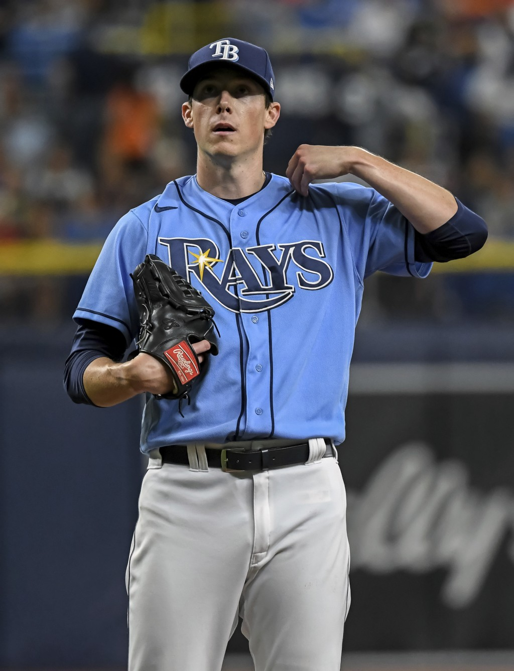 Tampa Bay Rays starter Ryan Yarbrough adjusts his jersey between pitches during the first inning of a baseball game against the Baltimore Orioles, Mon...