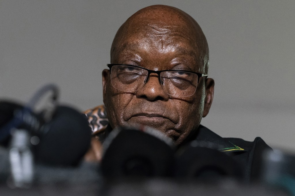 FILE - In this Sunday July 4, 2021 file photo, former president Jacob Zuma addresses the press at his home in Nkandla, KwaZulu-Natal Province, South A...