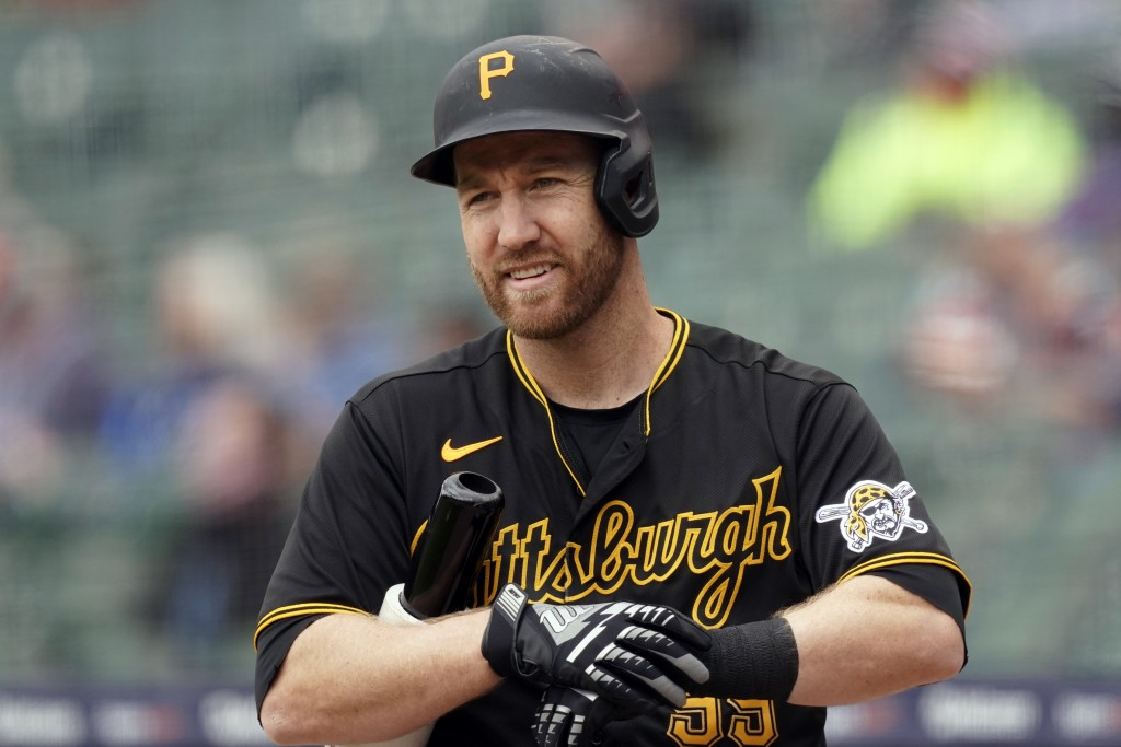 FILE -  In this Thursday, April 22, 2021, file photo, Pittsburgh Pirates' Todd Frazier plays during a baseball game against the Detroit Tigers in Detr...