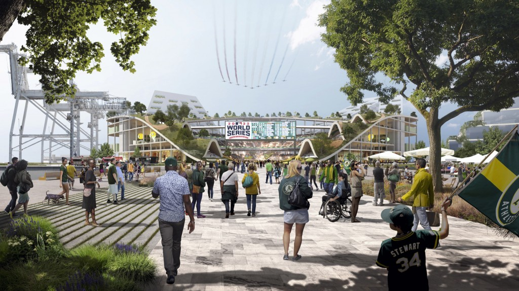 FILE - This rendering provided by the Oakland Athletics and BIG - Bjarke Ingels Group, shows an exterior view of the baseball club's proposed new ball...