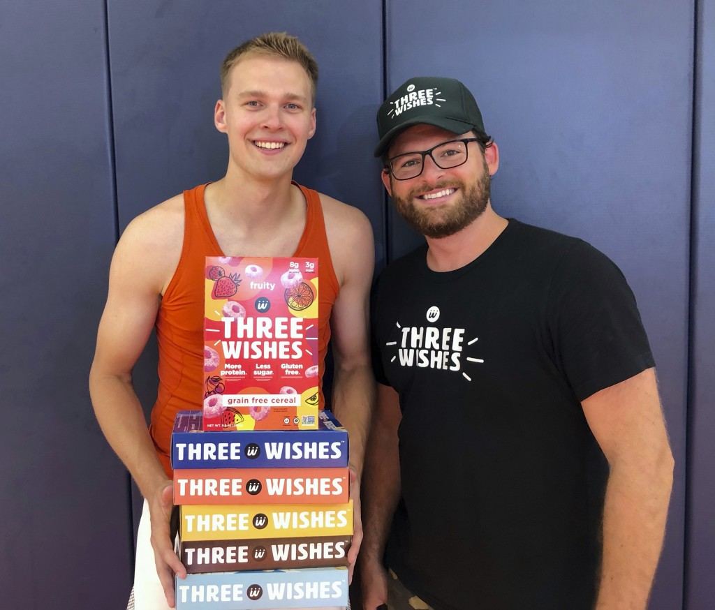 In this image provided by Three Wishes Foods, Syracuse's Buddy Boeheim, left, poses with Three Wishes Foods co-founder Ian Wishingrad on Wednesday, Ju...