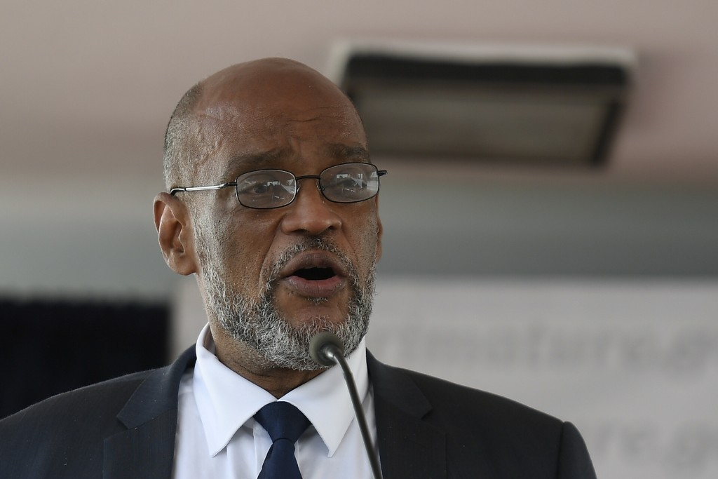 Ariel Henry speaks during his appointment as the new Prime Minister in Port-au-Prince, Haiti, Tuesday, July 20, 2021, weeks after the assassination of...