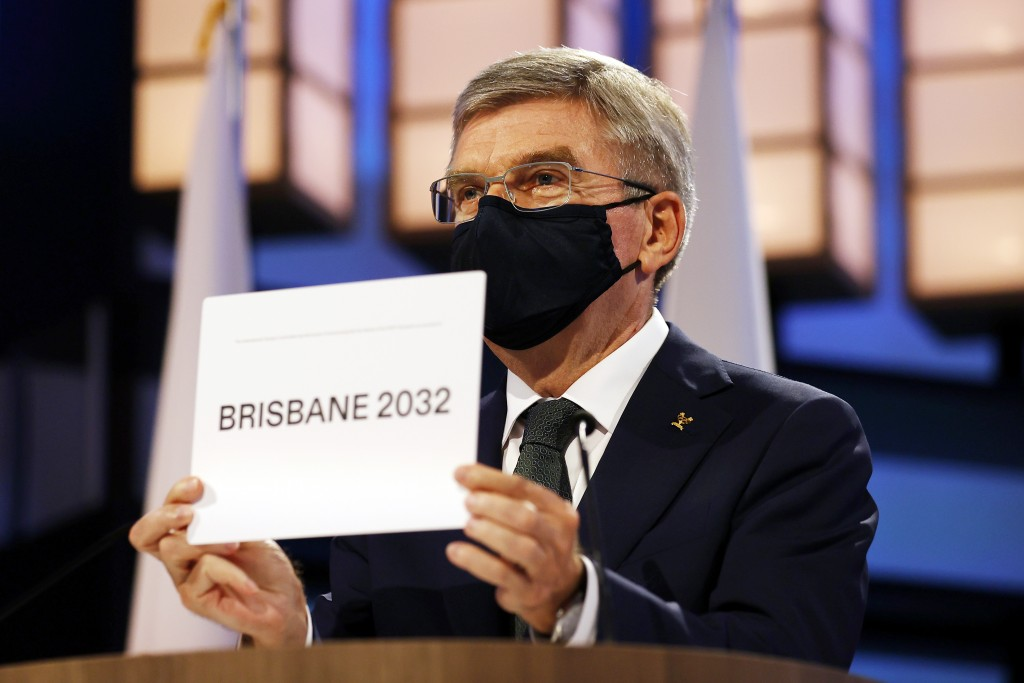 President of the International Olympic Committee Thomas Bach announces Brisbane as the 2032 Summer Olympics host city during the 138th IOC Session at ...