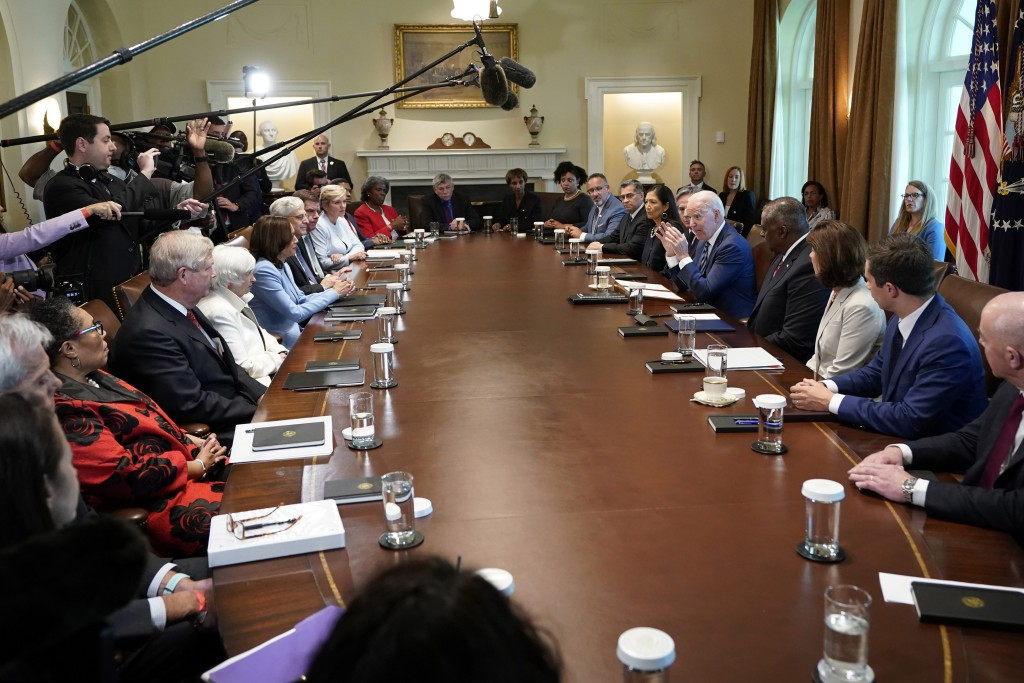 President Joe Biden speaks during a meeting with his Cabinet in the Cabinet Room at the White House in Washington, Tuesday, July 20, 2021. (AP Photo/S...