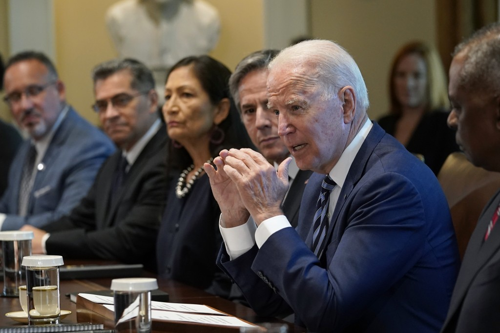 President Joe Biden speaks during a meeting with his Cabinet in the Cabinet Room at the White House in Washington, Tuesday, July 20, 2021. From left, ...
