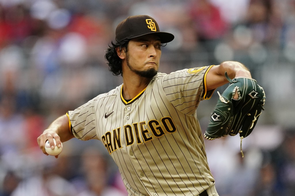 San Diego Padres starting pitcher Yu Darvish works in the first inning of a baseball game against the Atlanta Braves Tuesday, July 20, 2021, in Atlant...