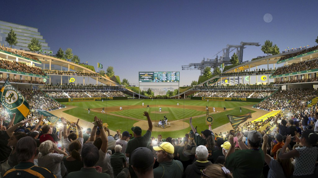 FILE - This rendering provided by the Oakland Athletics and BIG - Bjarke Ingels Group shows an interior view of the baseball club's proposed new ballp...