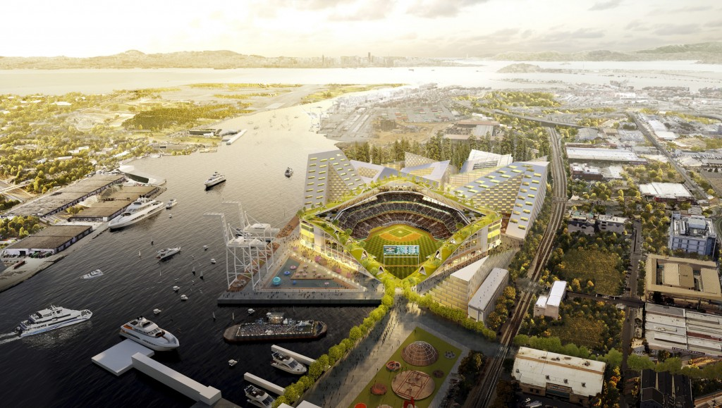 FILE - This rendering provided by the Oakland Athletics and BIG - Bjarke Ingels Group shows an elevated view of the baseball club's proposed new at Ho...