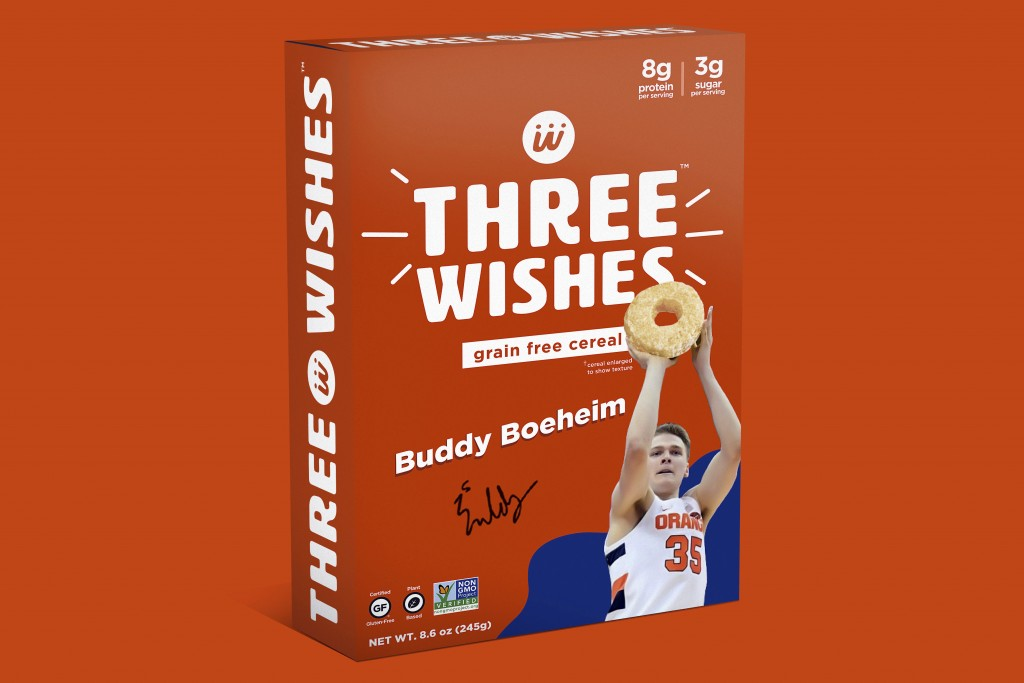 This image provided by Three Wishes Foods, shows Syracuse's Buddy Boeheim cereal box design for Three Wishes Foods cereal. A new era in college sports...