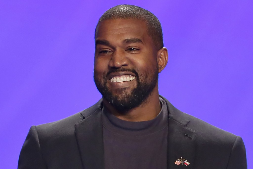 FILE - In this Nov. 17, 2019, file photo, Kanye West appears on stage during a service at Lakewood Church in Houston. West is scheduled to unveil his ...