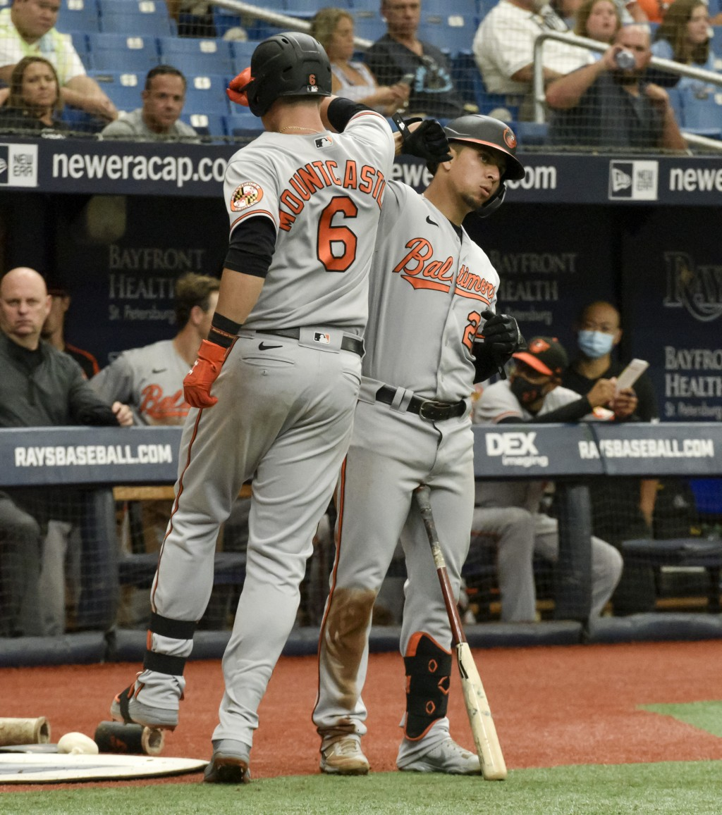 Baltimore Orioles' Ryan Mountcastle (6) celebrates his solo home run with Ramon Urias as he heads to the dugout during the fourth inning of a baseball...