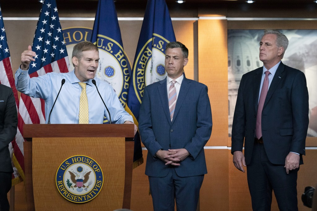 Rep. Jim Jordan, R-Ohio, speaks during a news conference as Rep. Jim Banks, R-Ind., and House Minority Leader Kevin McCarthy, R-Calif., looks on at Ca...
