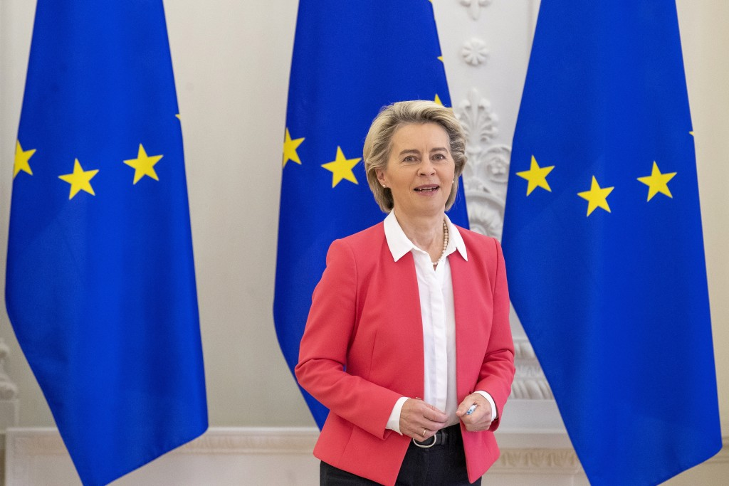 FILE- In this file photo dated Friday, July 2, 2021, European Commission President Ursula von der Leyen arrives for a meeting in Vilnius, Lithuania.  ...