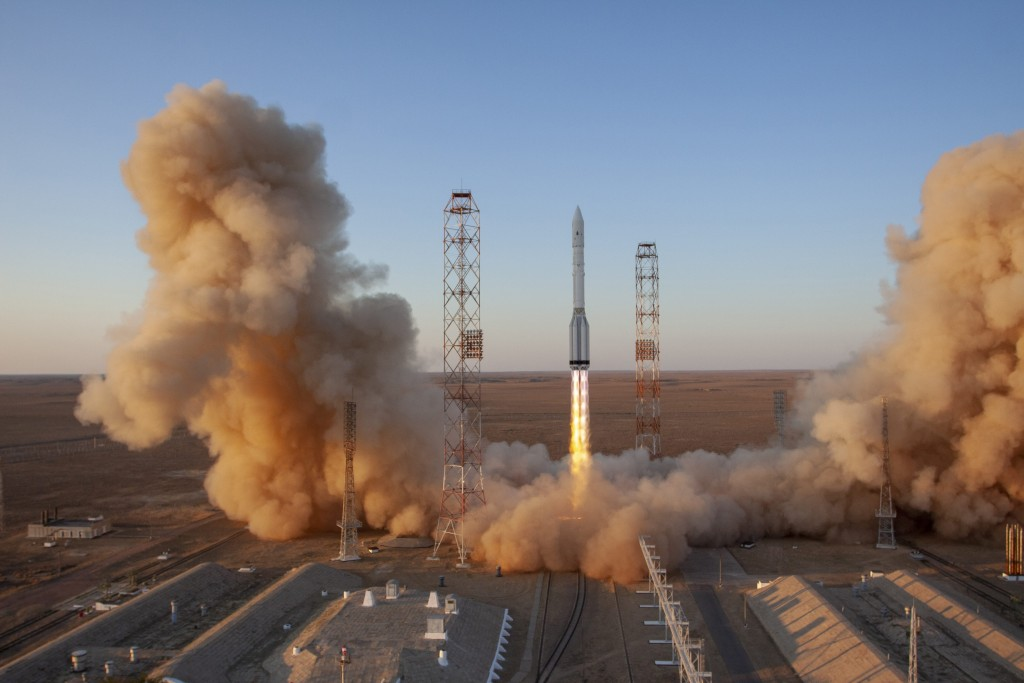A Proton-M booster rocket carrying the Nauka module blasts off from the launch pad at Russia's space facility in Baikonur, Kazakhstan, Wednesday, ...