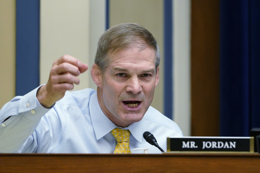 FILE - In this May 19, 2021 file photo, Rep. Jim Jordan, R-Ohio, speaks during a House Select Subcommittee hearing on Capitol Hill in Washington. Hous...