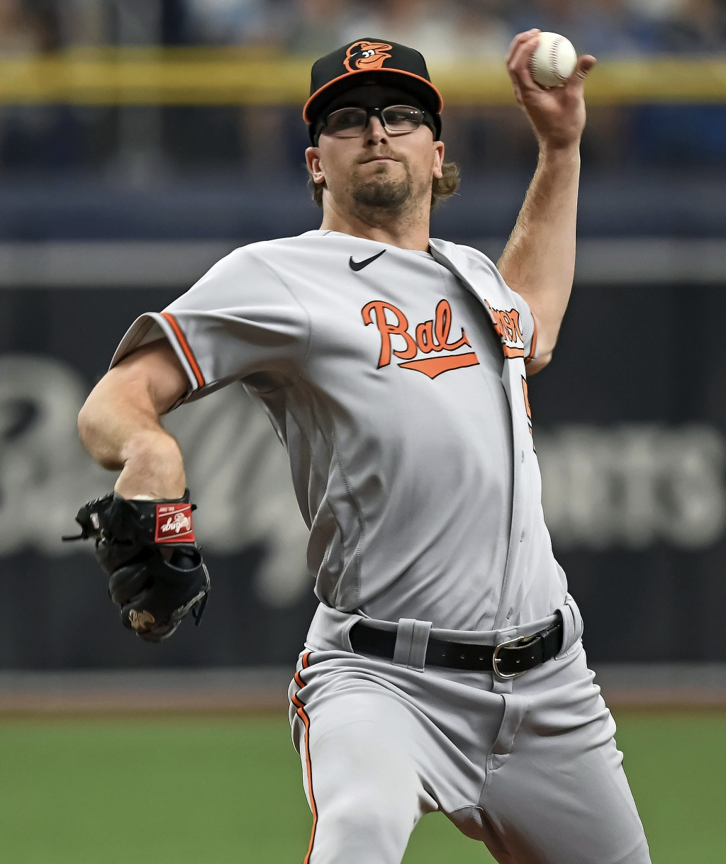 Baltimore Orioles starter Alexander Wells pitches against the Tampa Bay Rays during the first inning of a baseball game Wednesday, July 21, 2021, in S...