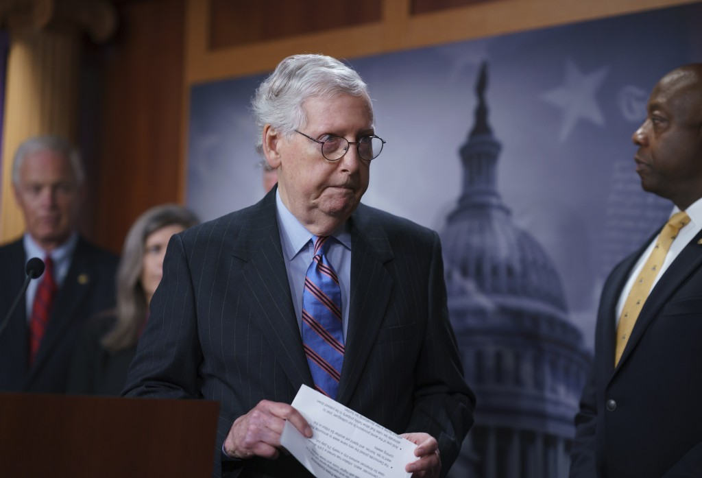 Senate Minority Leader Mitch McConnell, R-Ky., and other GOP senators speak to reporters ahead of a test vote scheduled by Democratic Leader Chuck Sch...
