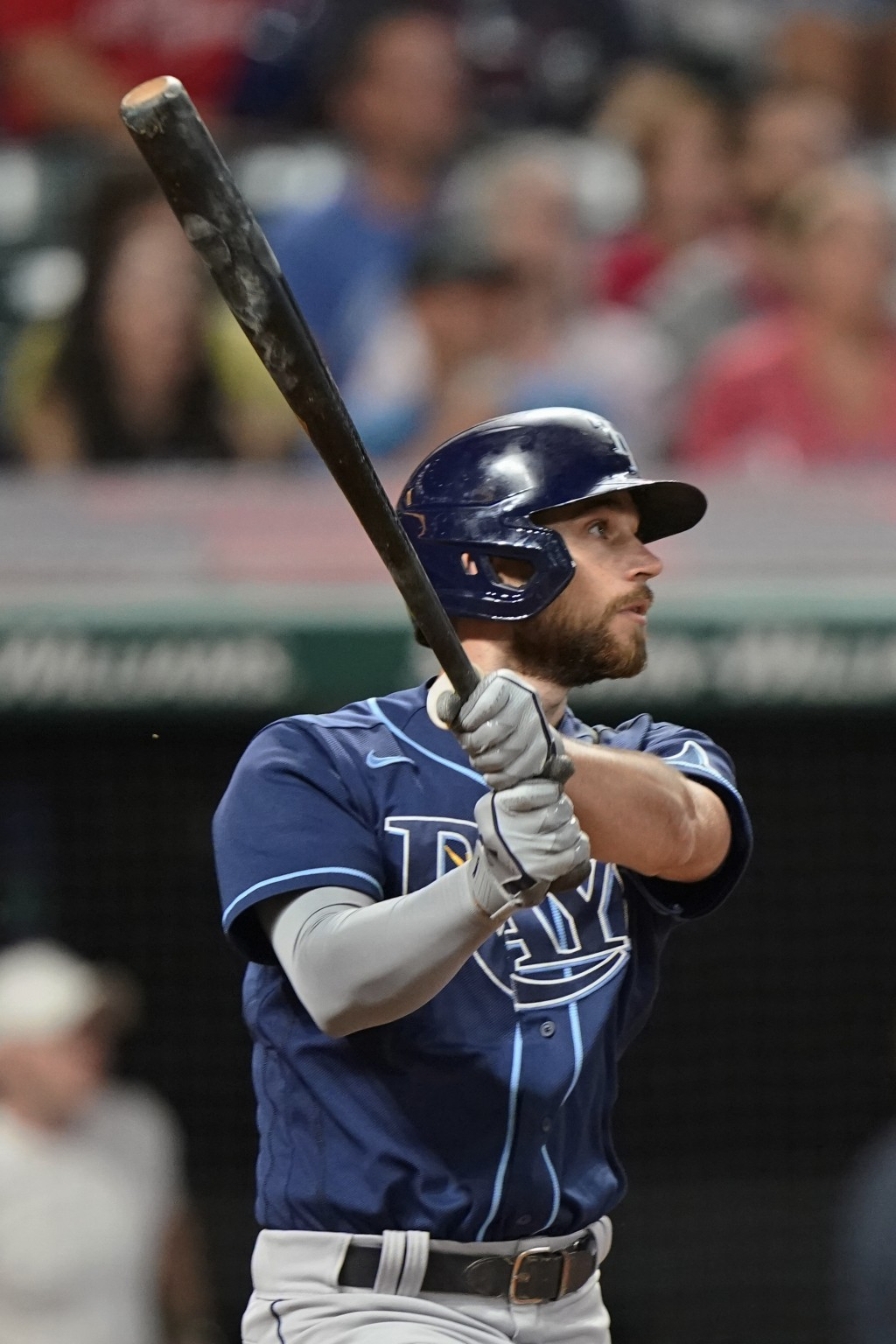 Tampa Bay Rays' Brandon Lowe watches his RBI double in the ninth inning of the team's baseball game against the Cleveland Indians, Thursday, July 22, ...
