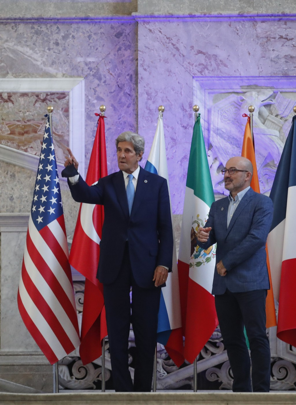 Special Presidential Envoy for Climate John Kerry and Italian Minister for Ecological Transition Roberto Cingolani pose during a photo opportunity at ...