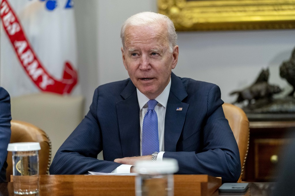 President Joe Biden speaks while meeting with union and business leaders to discuss the Bipartisan Infrastructure Framework, in the Roosevelt Room of ...