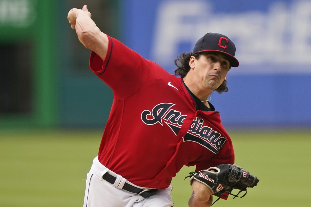 Cleveland Indians starting pitcher Cal Quantrill delivers in the first inning of the team's baseball game against the Tampa Bay Rays, Thursday, July 2...