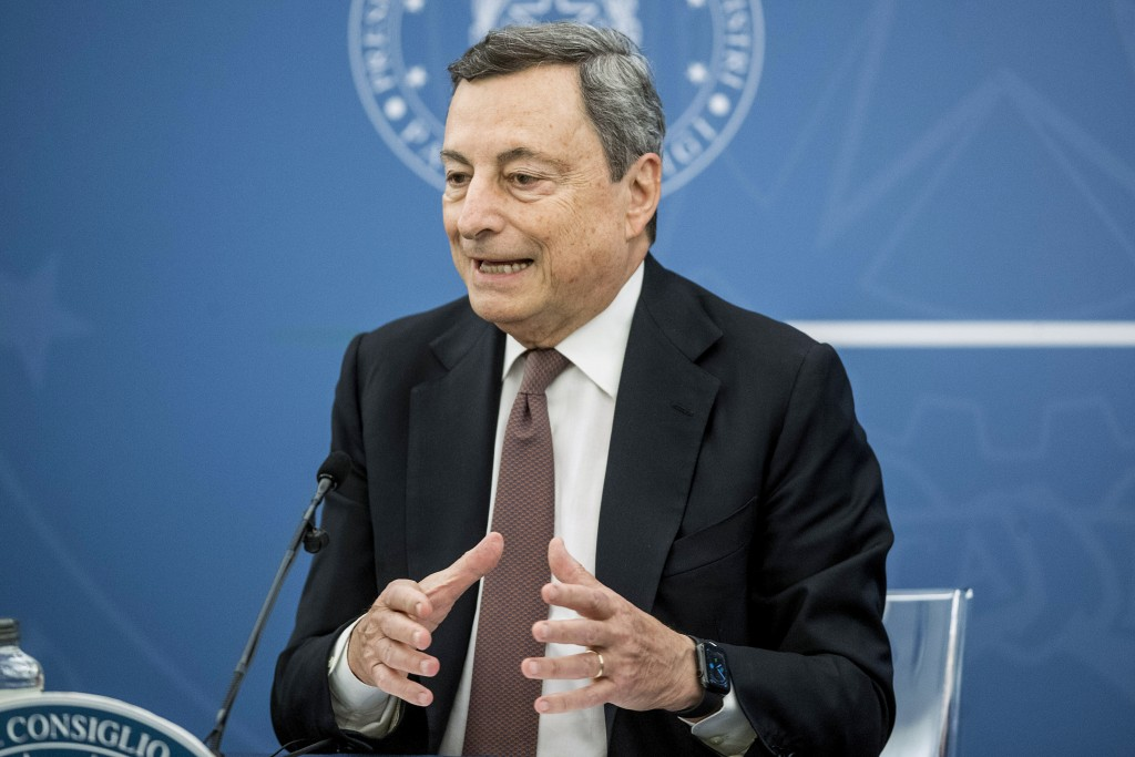 Italian Premier Mario Draghi speaks at a press conference at Chigi Palace government office in Rome, Thursday, July 22, 2021. With daily COVID-19 case...