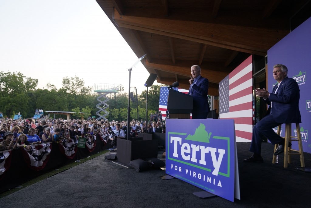 President Joe Biden speaks at a campaign event for Virginia democratic gubernatorial candidate Terry McAuliffe at Lubber Run Park, Friday, July 23, 20...