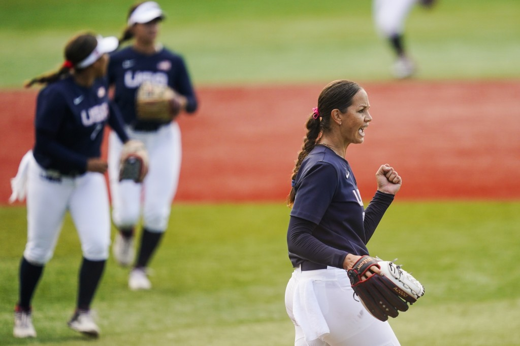 United States' Cat Osterman reacts after the sixth inning of a softball game against Mexico at the 2020 Summer Olympics, Saturday, July 24, 2021, in Y...