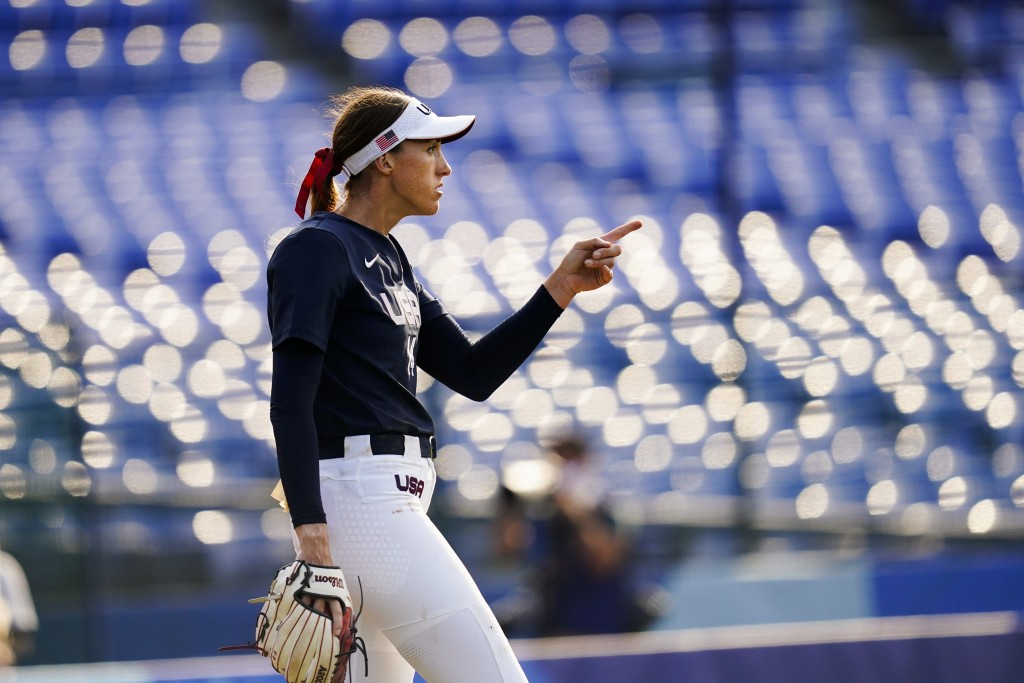 United States' Monica Abbott reacts after a strike out during a softball game against Mexico at the 2020 Summer Olympics, Saturday, July 24, 2021, in ...