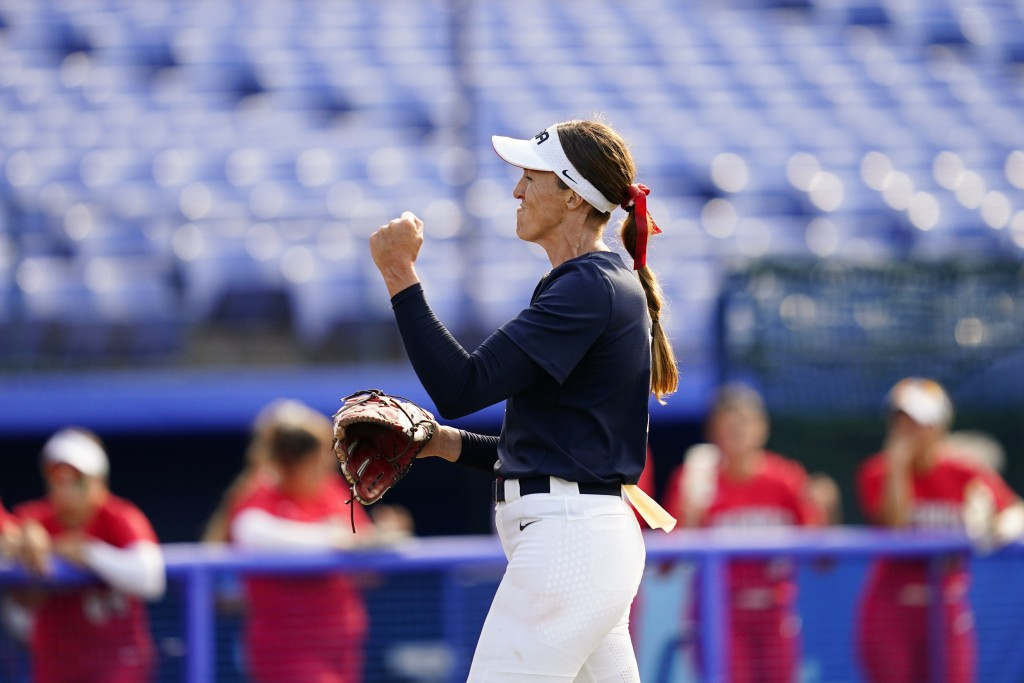 United States' Monica Abbott reacts after getting the win over Mexico during a softball game at the 2020 Summer Olympics, Saturday, July 24, 2021, in ...