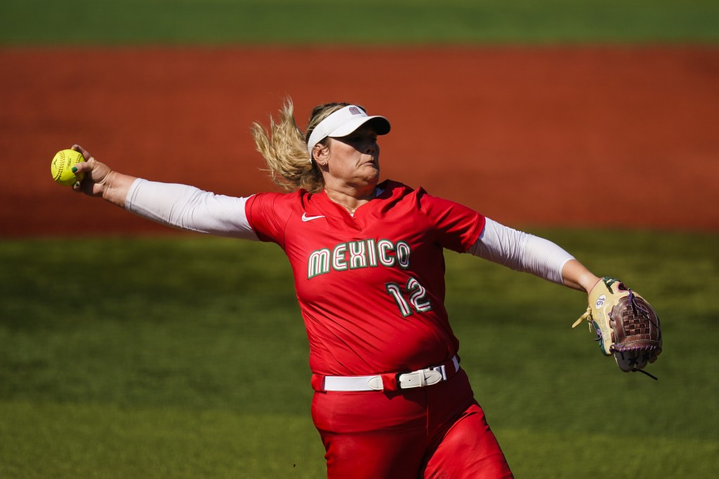 Mexico's Dallas Escobedo pitches during the second inning during a softball game the United States at the 2020 Summer Olympics, Saturday, July 24, 202...