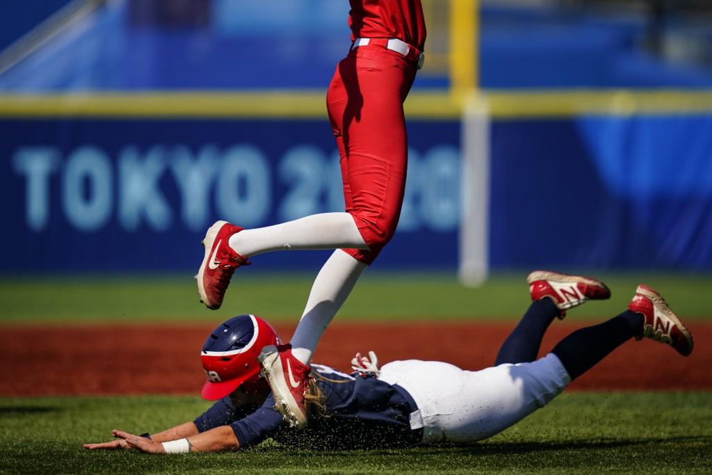 United States' Haylie McCleney steals second base under Mexico's Anissa Urtez during a softball game at the 2020 Summer Olympics, Saturday, July 24, 2...