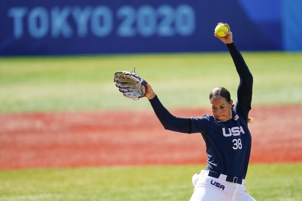 United States' Cat Osterman pitches during a softball game against Mexico at the 2020 Summer Olympics, Saturday, July 24, 2021, in Yokohama, Japan. (A...