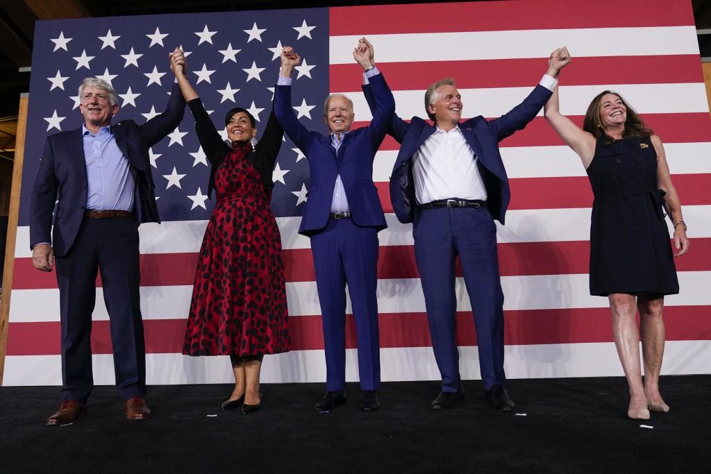 From left, Attorney General of Virginia Mark Herring, Virginia democratic lieutenant governor candidate Del. Hala Ayala, President Joe Biden, Virginia...