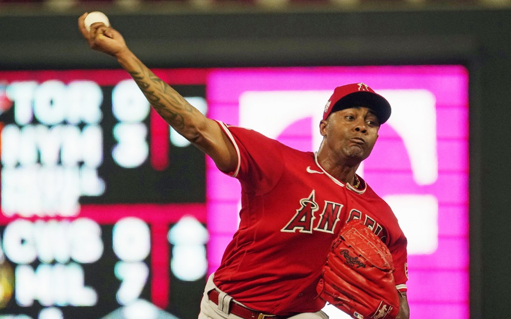 Los Angeles Angels relief pitcher Raisel Iglesias throws to a Minnesota Twins batter during the eighth inning of a baseball game Friday, July 23, 2021...