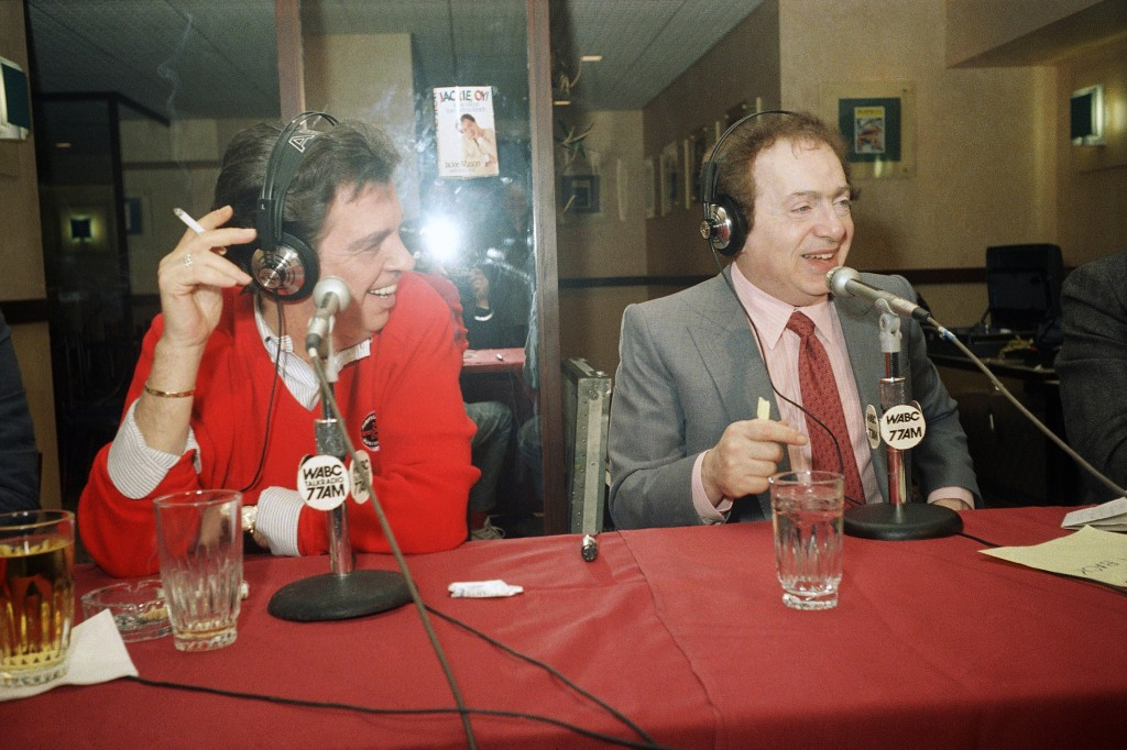 FILE - In this Nov. 24, 1988, file photo, comedian Jackie Mason, right, hosts TV personality Morton Downey Jr. during a live radio broadcast from Gold...