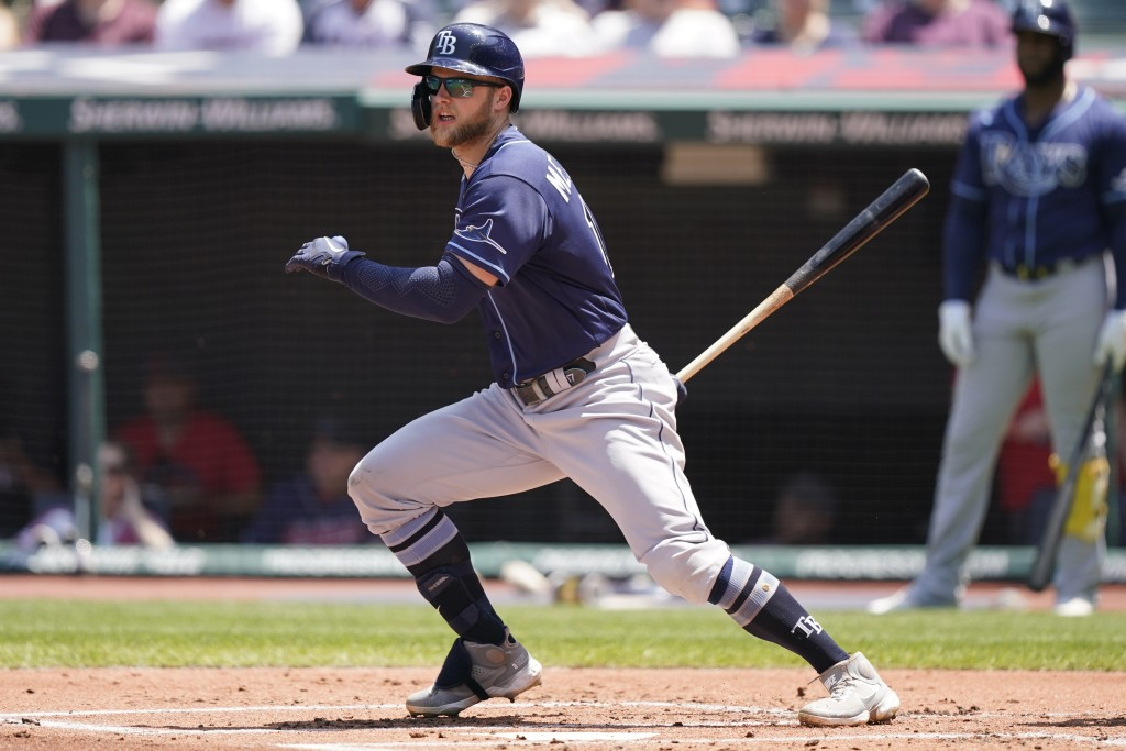 Tampa Bay Rays' Austin Meadows grounds out in the first inning of a baseball game against the Cleveland Indians, Sunday, July 25, 2021, in Cleveland. ...