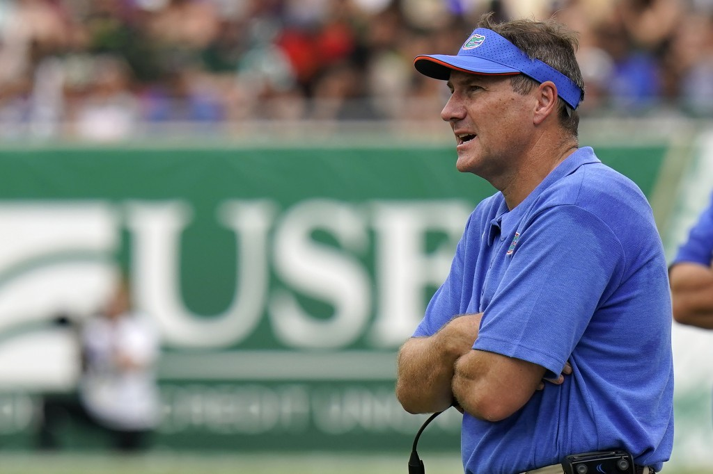 Florida head coach Dan Mullen watches against South Florida during the first half of an NCAA college football game Saturday, Sept. 11, 2021, in Tampa,...