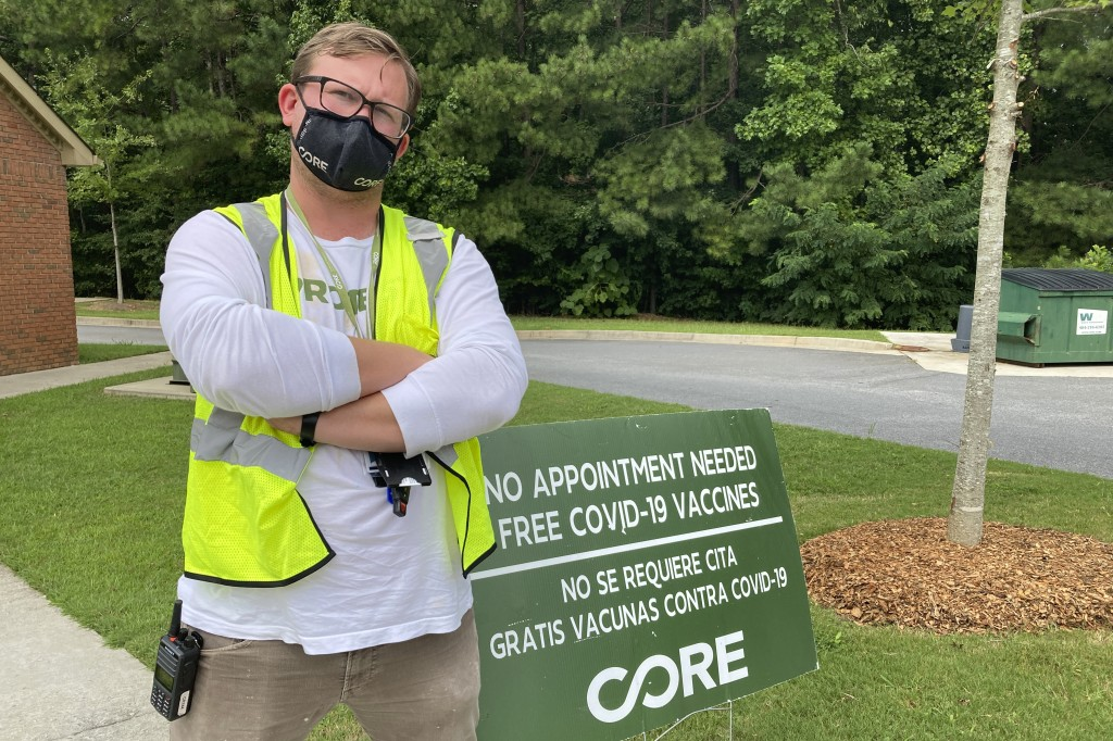 Riley Erickson poses for a photo at Springfield Missionary Baptist Church in Atlanta on Sept. 8, 2021, where the disaster relief group CORE was offeri...