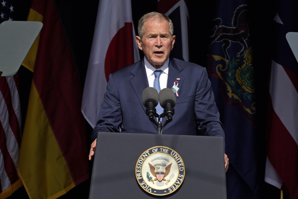 Former President George W. Bush speaks at the Flight 93 National Memorial in Shanksville, Pa., Saturday, Sept. 11, 2021, on the 20th anniversary of th...