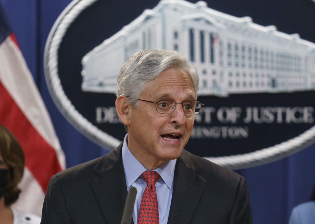 FILE - In this Sept. 9, 2021, file photo, Attorney General Merrick Garland announces a lawsuit to block the enforcement of a new Texas law that bans m...