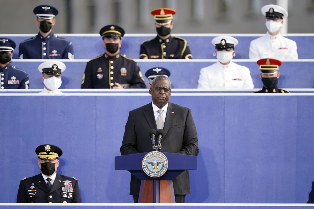 Secretary of Defense Lloyd Austin speaks during an observance ceremony at the Pentagon in Washington, Saturday, Sept. 11, 2021, on the morning of the ...