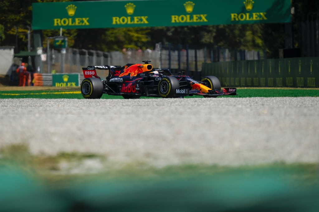 Red Bull driver Max Verstappen of the Netherlands steers his car during a free practice at the Monza racetrack, in Monza, Italy , Saturday, Sept.11, 2...