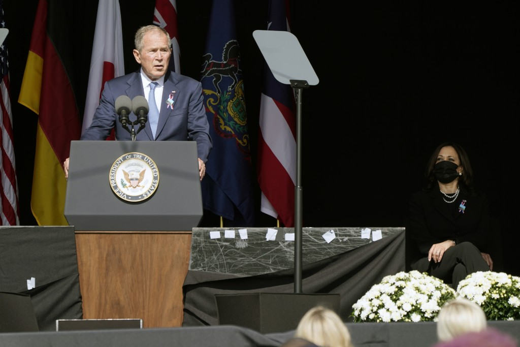 Former President George W. Bush speaks during a memorial for the passengers and crew of United Flight 93, Saturday Sept. 11, 2021, in Shanksville, Pa....