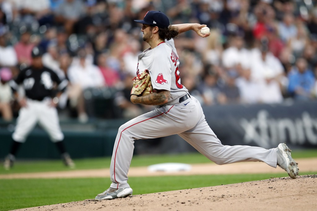 Boston Red Sox starting pitcher Connor Seabold delivers against the Chicago White Sox during the first inning of a baseball game, Saturday, Sept. 11, ...