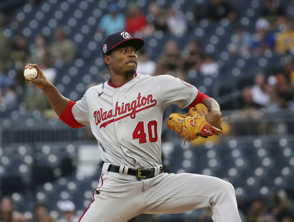Washington Nationals' starter Josiah Gray pitches in the first inning of a baseball gamed against the Pittsburgh Pirates, Saturday, Sept. 11, 2021, in...