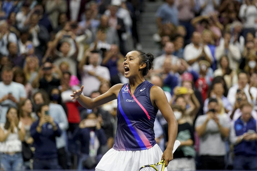 Leylah Fernandez, of Canada, reacts after defeating Aryna Sabalenka,of Belarus, during the semifinals of the US Open tennis championships, Thursday, S...